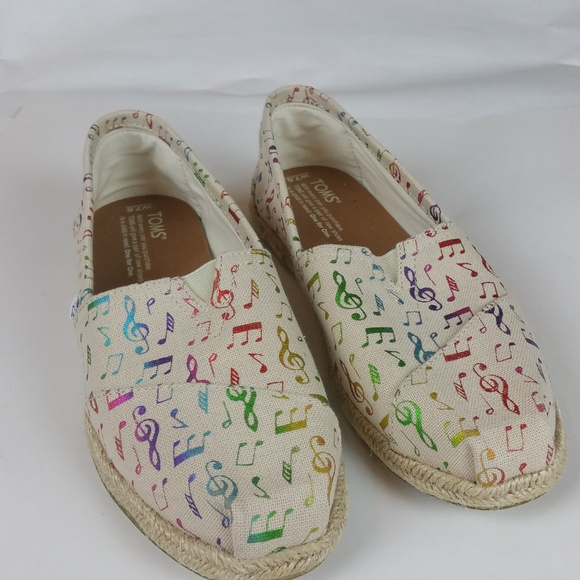 82b17f4d7a7 TOMS Shoes - TOMS Rainbow Music Notes Women s Classic New 7.5